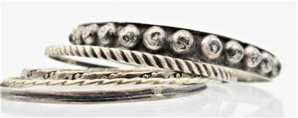 Group 5 Antique Sterling Silver Bangle Bracelets