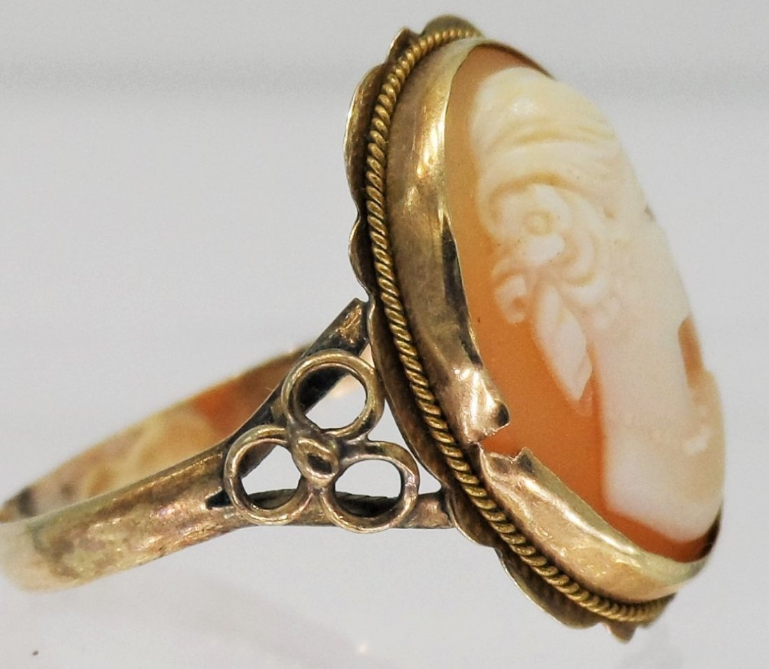 19TH CENTURY VICTORIAN 10kt GOLD CARVED CAMEO RING - 2