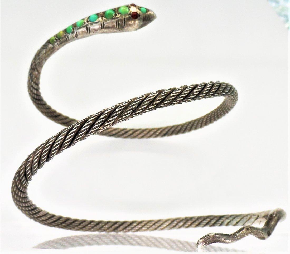 Sterling Silver Turquoise Egyptian Snake Bracelet