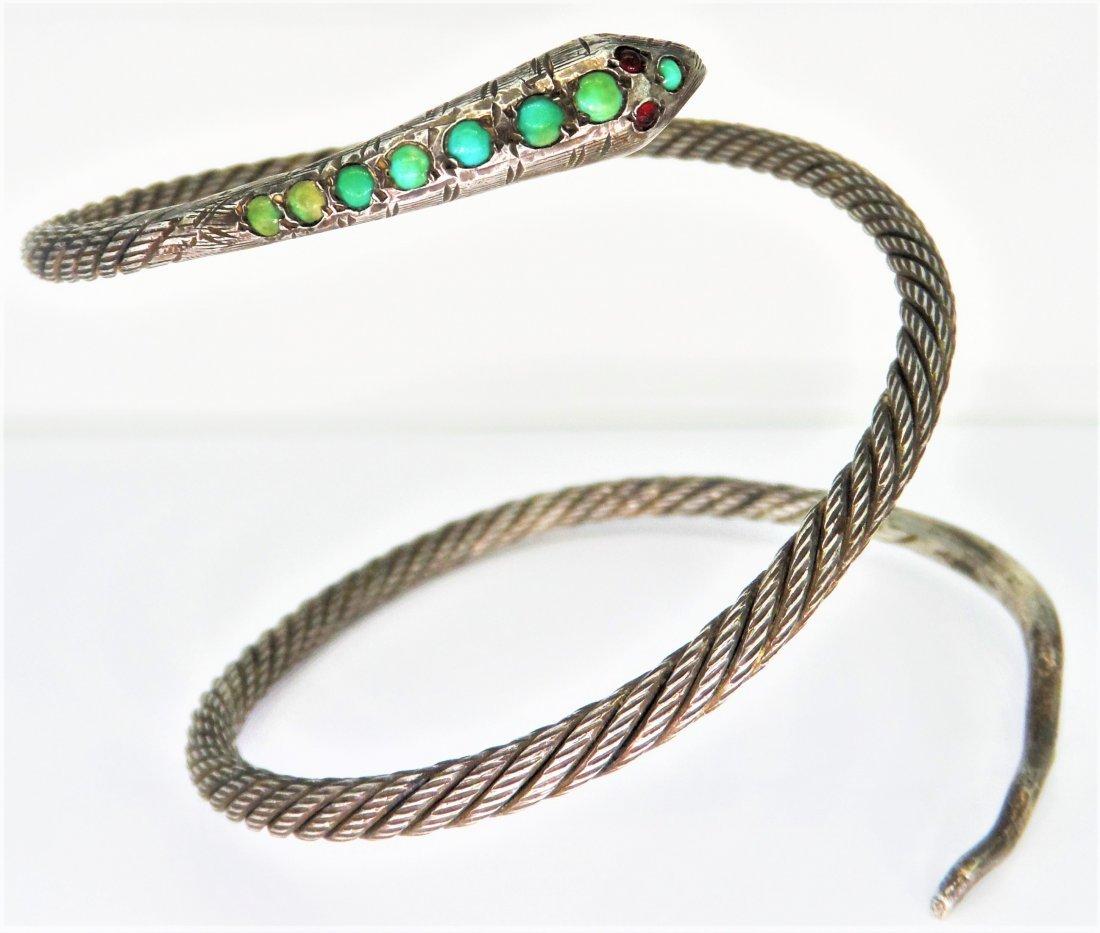 Sterling Silver Turquoise Egyptian Snake Bracelet - 2