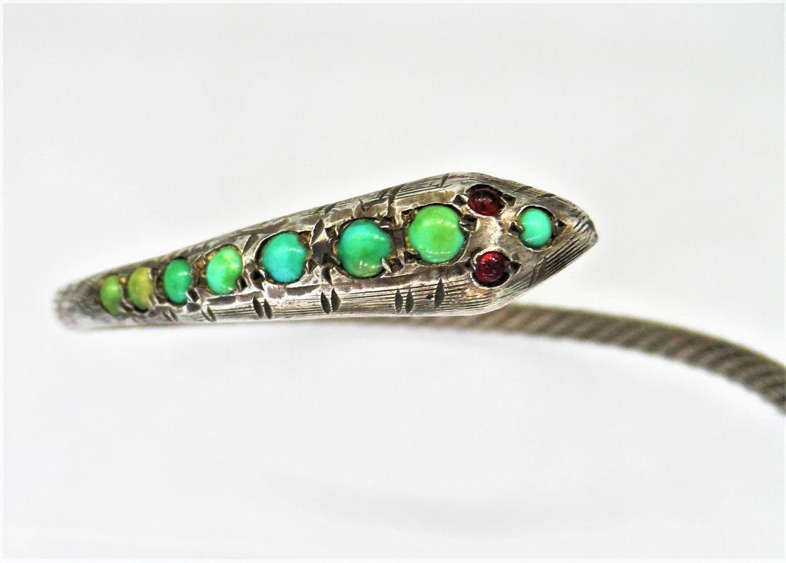 Sterling Silver Turquoise Egyptian Snake Bracelet - 3