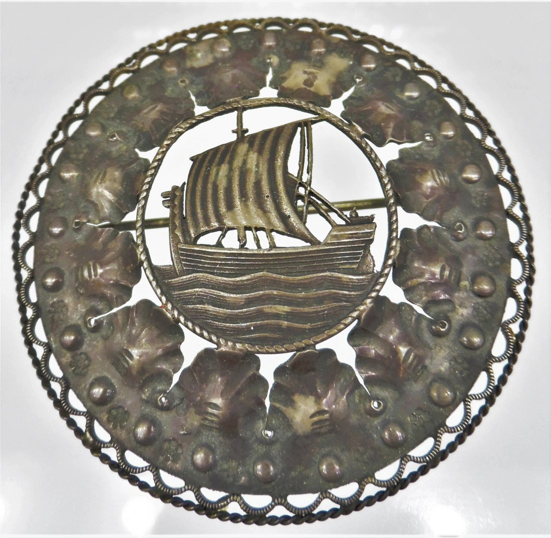 Scandinavian piece Sterling Silver Ship Brooch