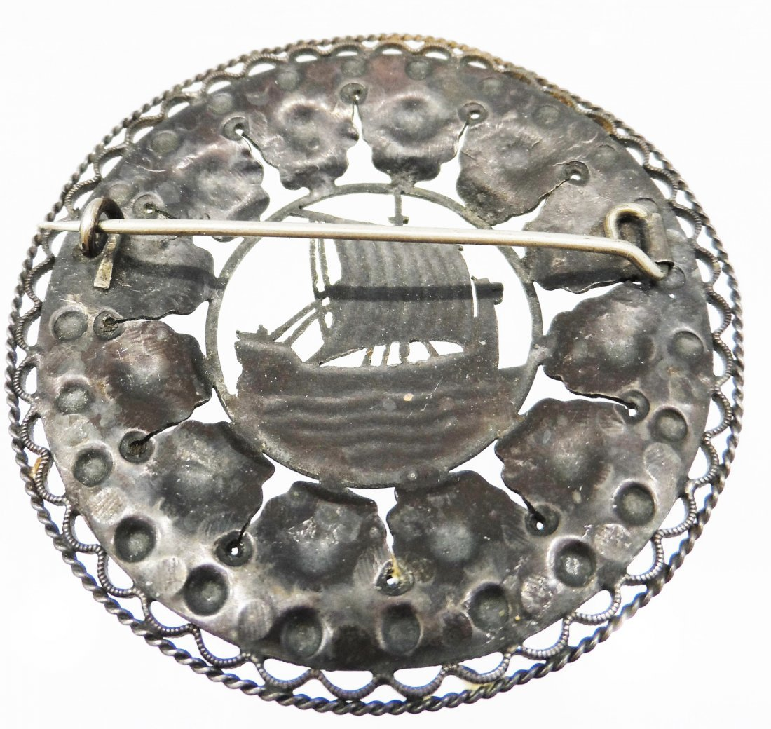 Scandinavian piece Sterling Silver Ship Brooch - 2
