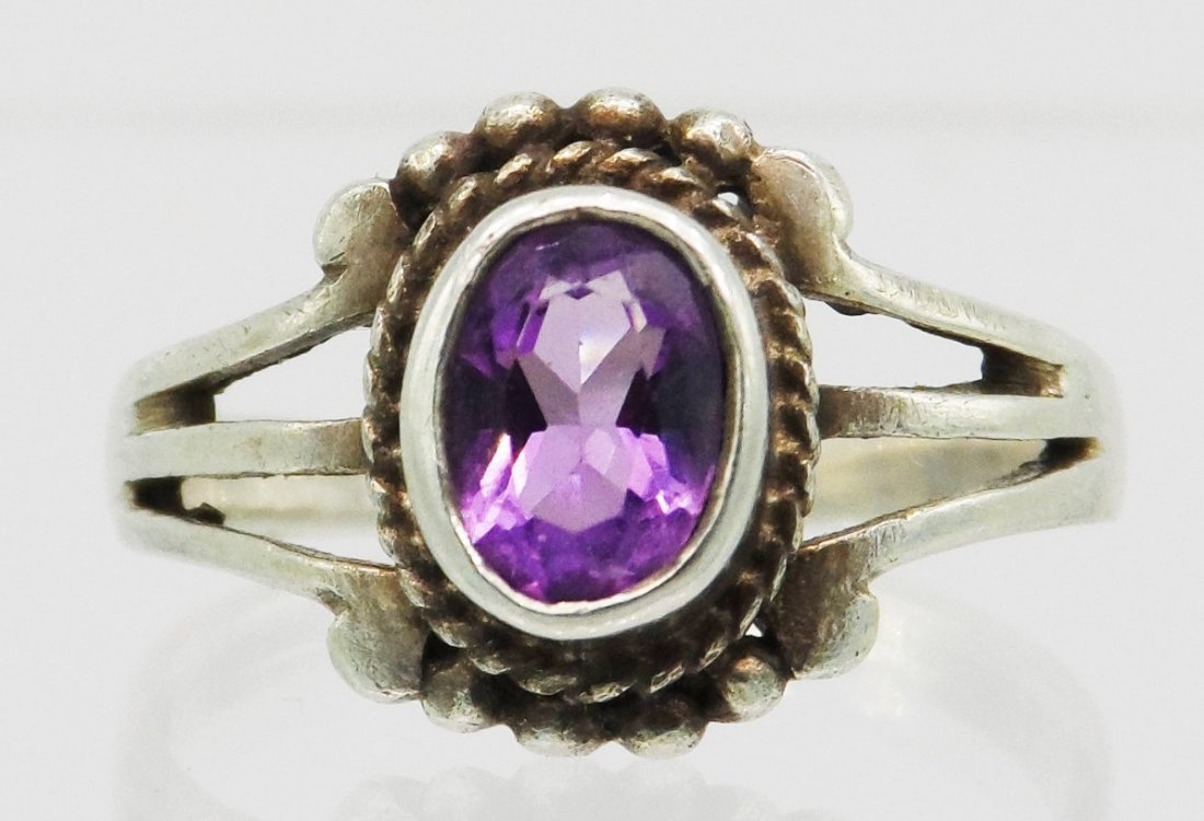 Purple Sterling Silver Ring