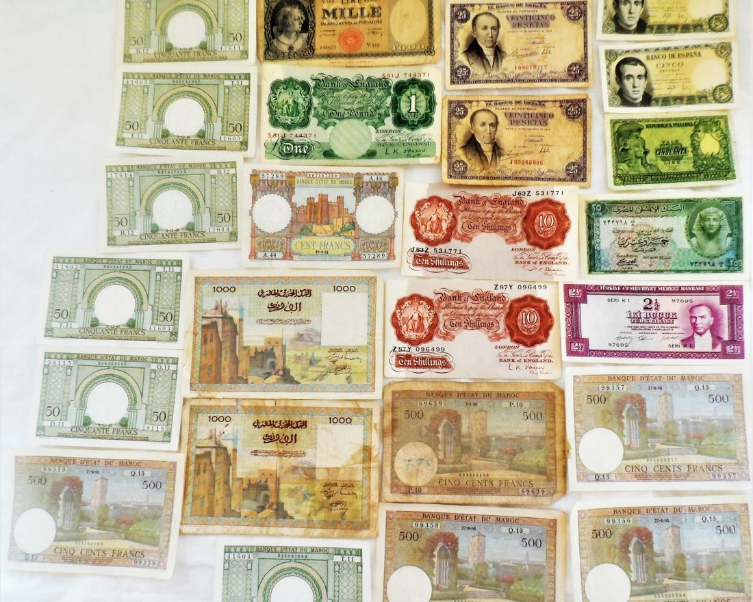 Paper Money Lot FRANCS, LIRE Bank Notes Currency World