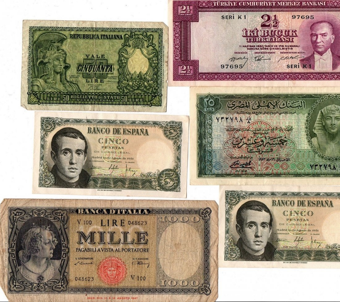 Paper Money Lot FRANCS, LIRE Bank Notes Currency World - 2