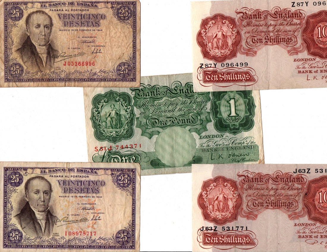 Paper Money Lot FRANCS, LIRE Bank Notes Currency World - 3