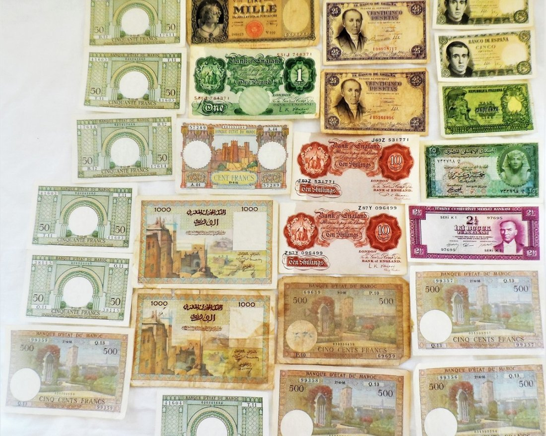 Paper Money Lot FRANCS, LIRE Bank Notes Currency World - 7