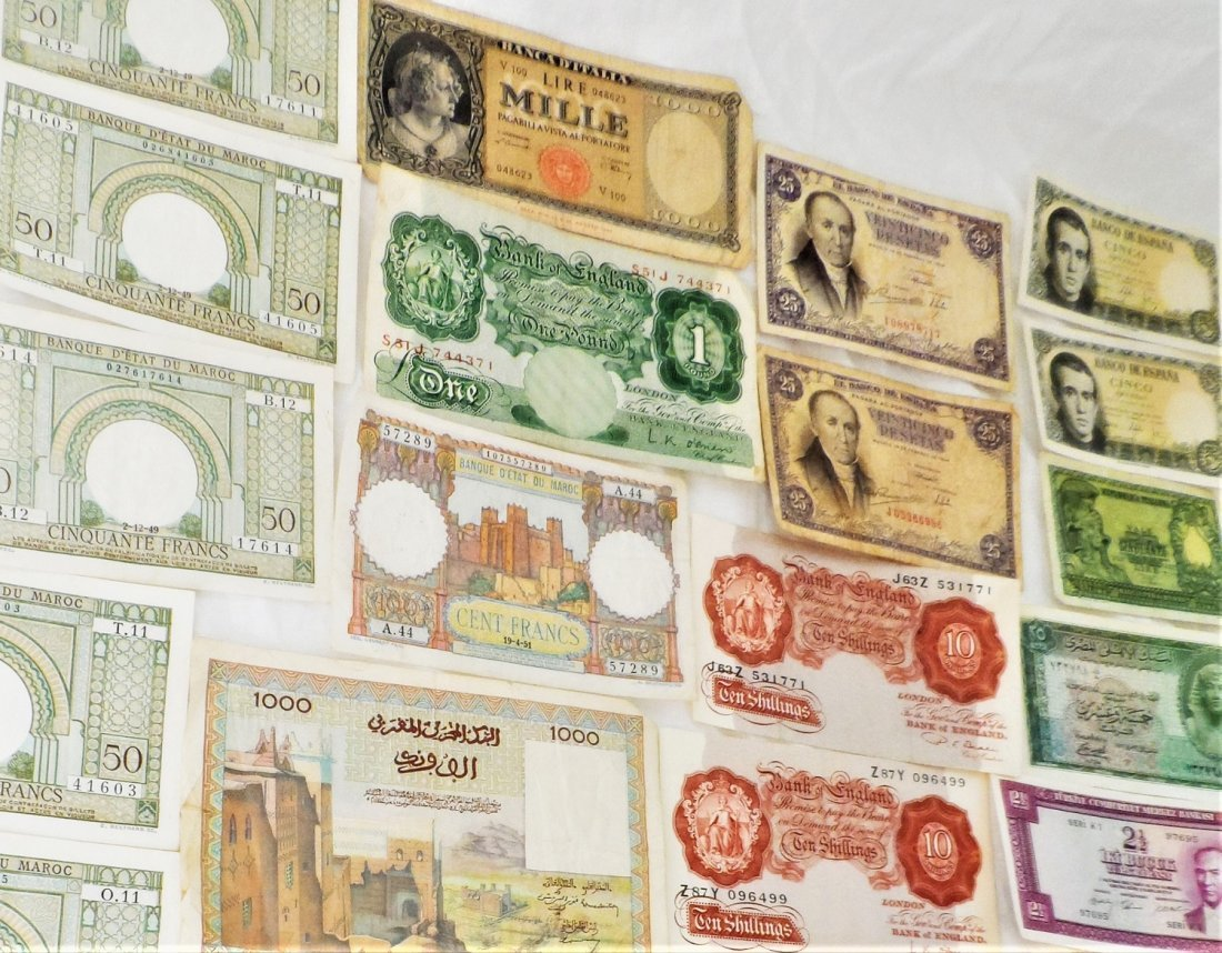Paper Money Lot FRANCS, LIRE Bank Notes Currency World - 8