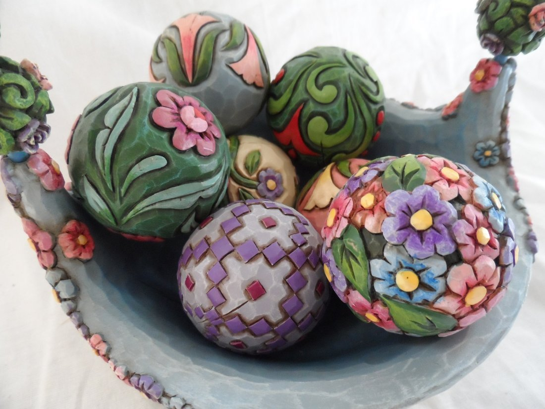Jim Shore Blossoms of Spring Easter Basket Eggs - 3