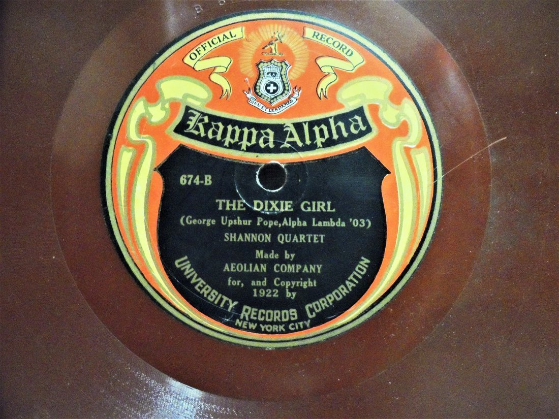 78 RPM RECORD KAPPA ALPHA NEW YORK UNIVERSITY 1922 - 3