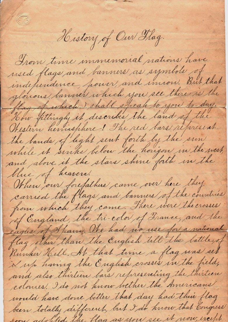 1890 Letter History of Our Flag Gettysburg Ephemera