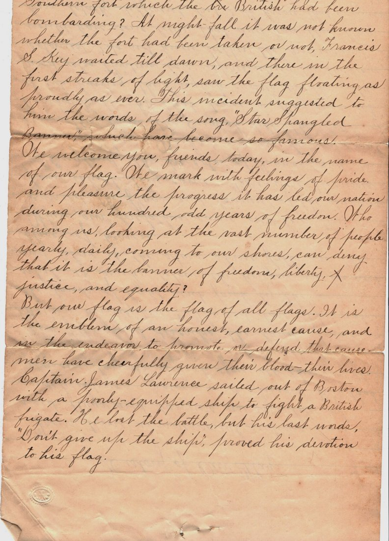 1890 Letter History of Our Flag Gettysburg Ephemera - 2