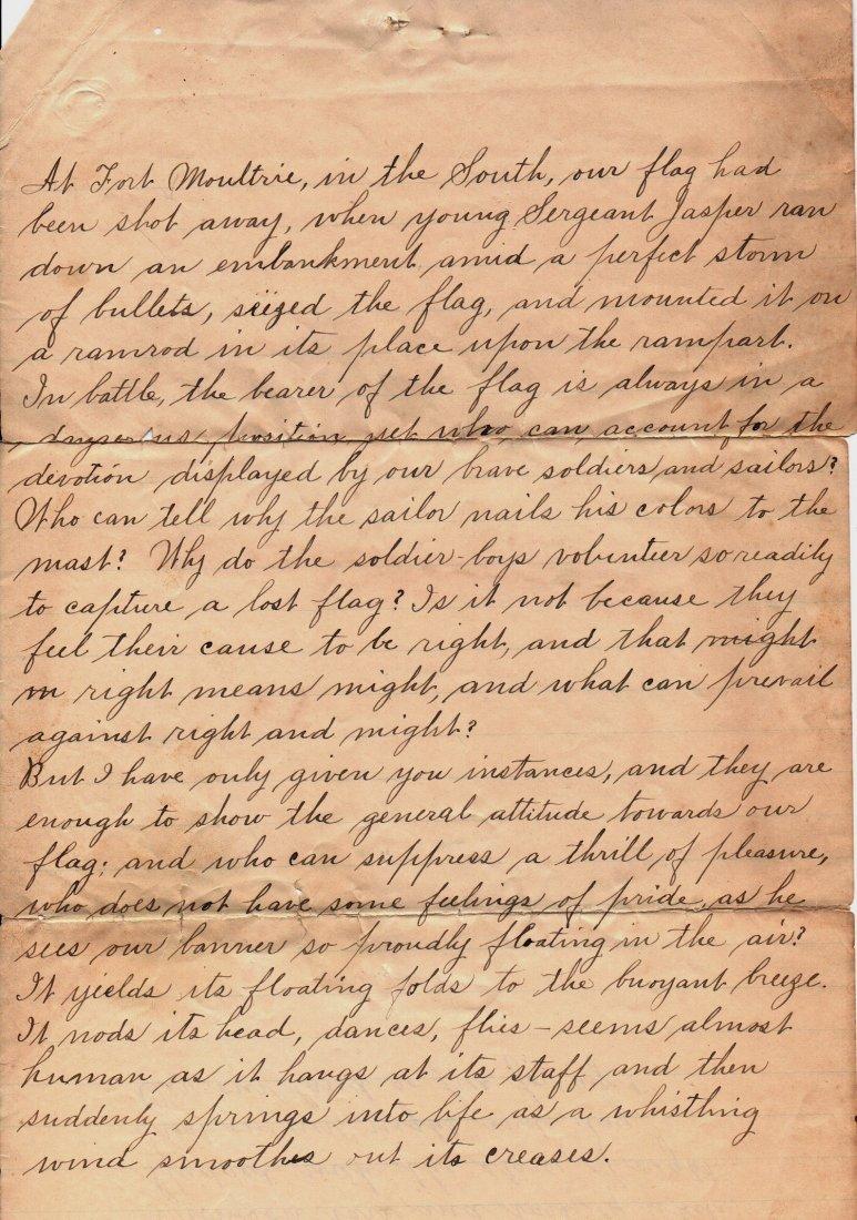 1890 Letter History of Our Flag Gettysburg Ephemera - 3