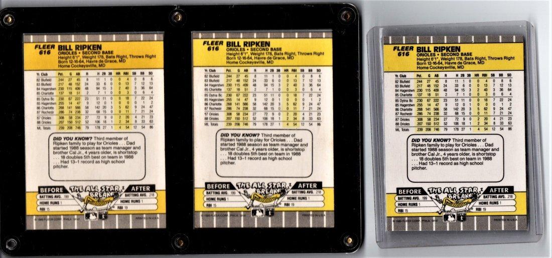 Bill Ripken Error Cards Baseball Card Lot Trio - 2