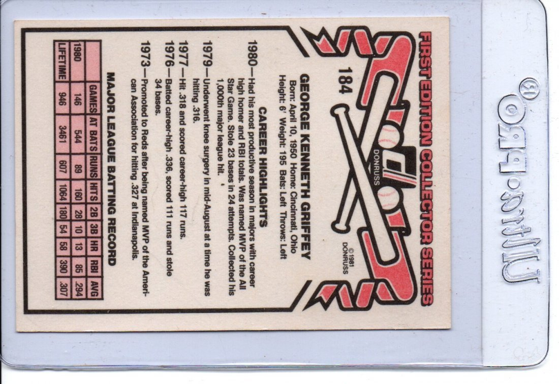 1981 Ken Griffey Donruss 184 Baseball Card Sports Card - 2