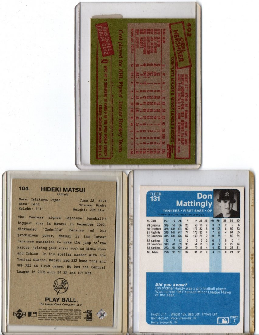 Baseball Card Lot Sports Hershiser, Matsui, Mattingly - 2