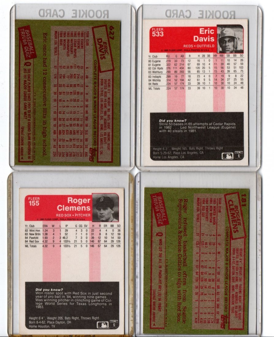 Baseball Card Sports Lot, Eric Davis, Roger Clemens - 2