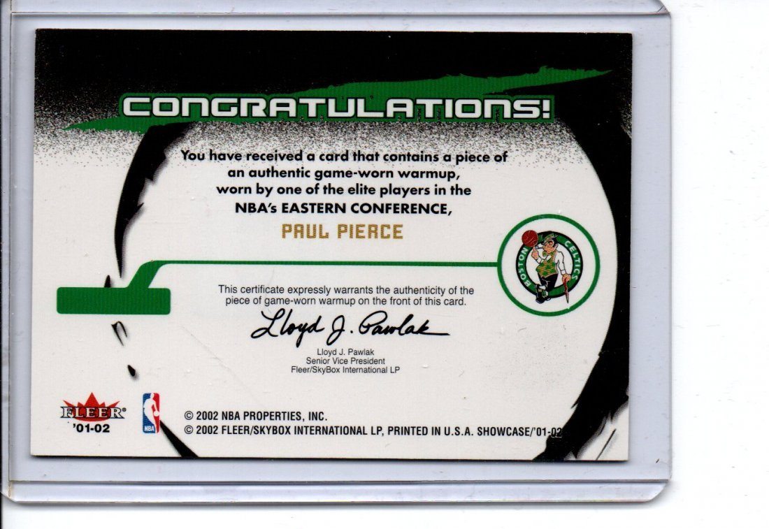 PAUL PIERCE GAME WORN NBA BASKETBALL CARD - 2