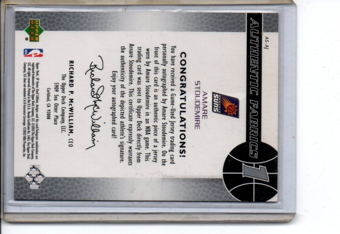 AMARE STOUDEMIRE AUTOGRAPH NBA BASKETBALL CARD - 2
