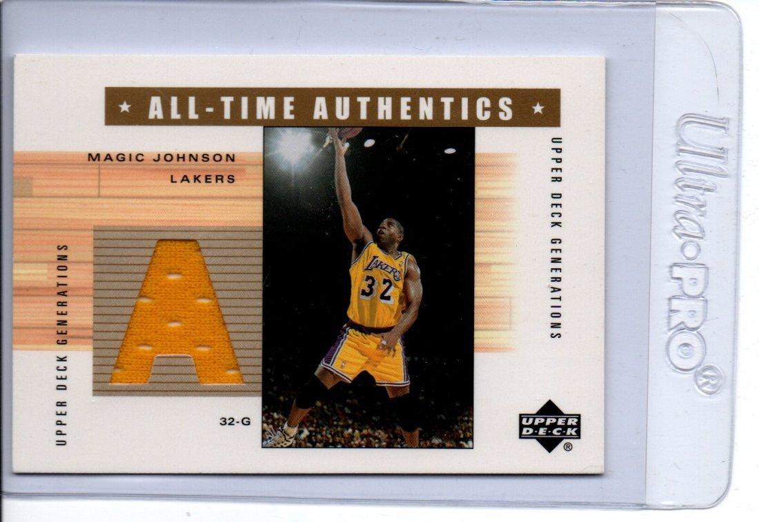 MAGIC JOHNSON GAME USED JERSEY NBA BASKETBALL CARD