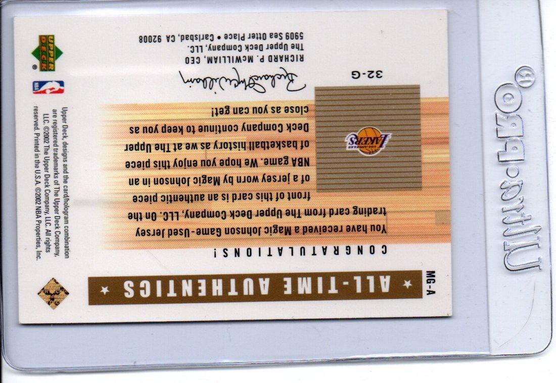 MAGIC JOHNSON GAME USED JERSEY NBA BASKETBALL CARD - 2