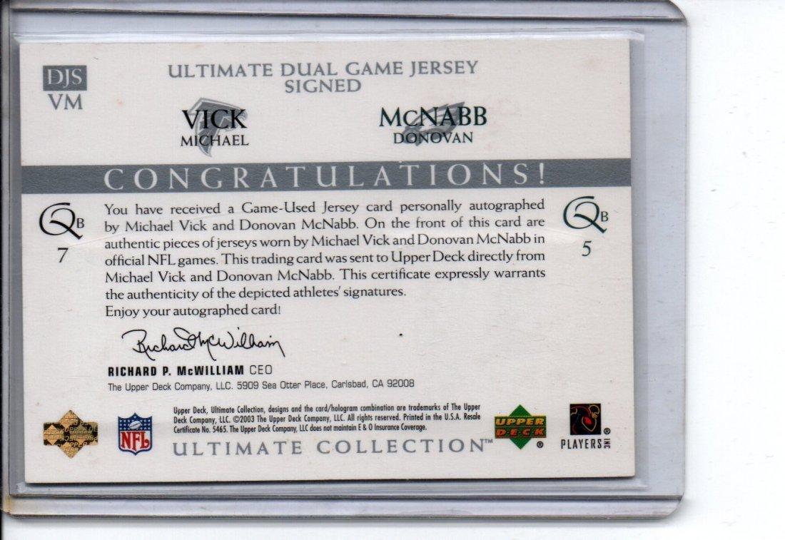 DONOVAN McNABB / VICK AUTOGRAPH NFL FOOTBALL CARD - 2