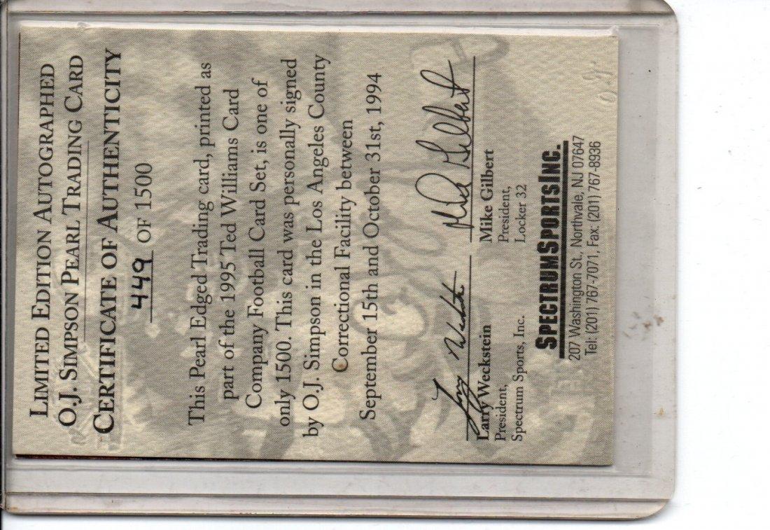 O.J. SIMPSON AUTOGRAPH NFL FOOTBALL CARD - 2