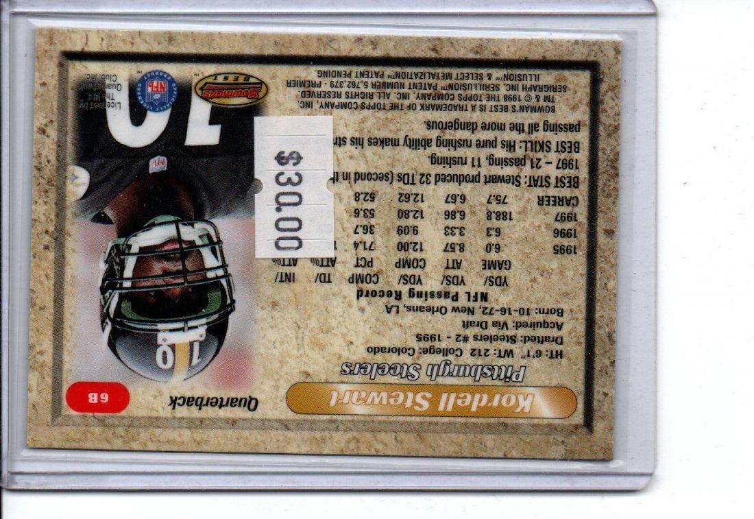 KORDELL STEWART BOWMANS AUTOGRAPH NFL FOOTBALL CARD - 2
