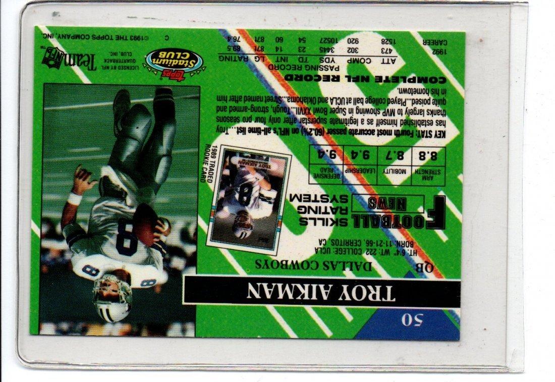 TROY AIKMAN TOPPS 1993 NFL FOOTBALL CARD - 2
