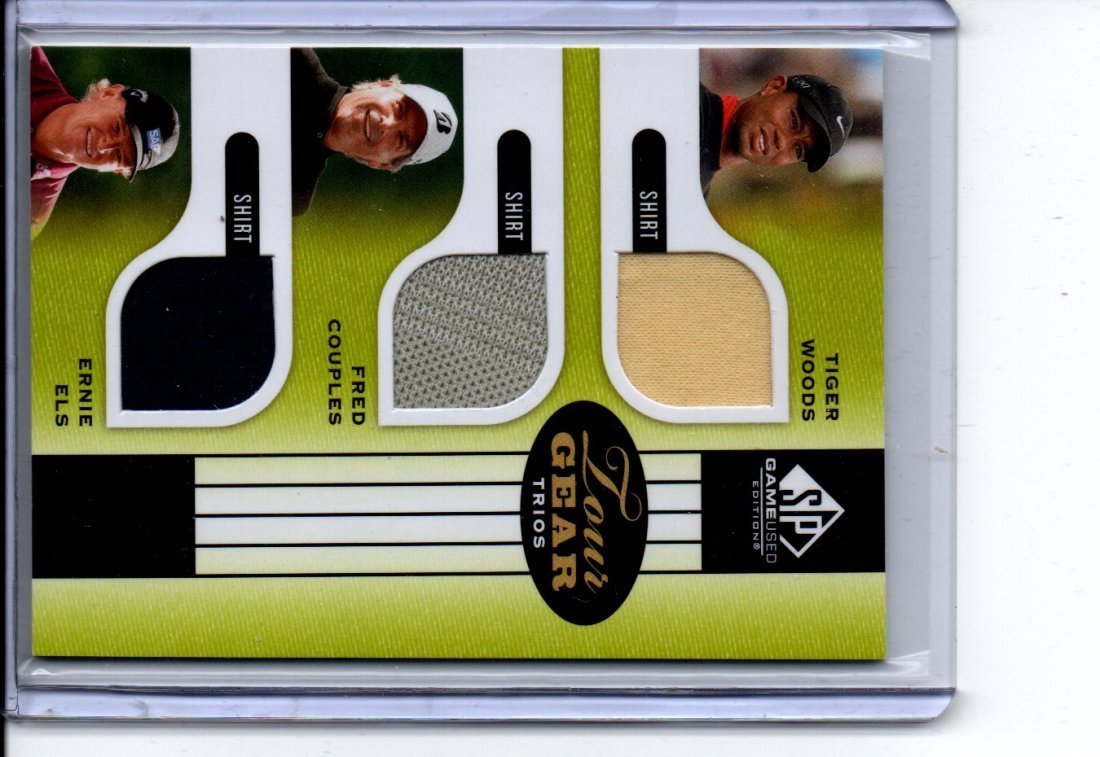 WOODS/COUPLES/ELS GAME USED JERSEY CARD SPORTS CARD
