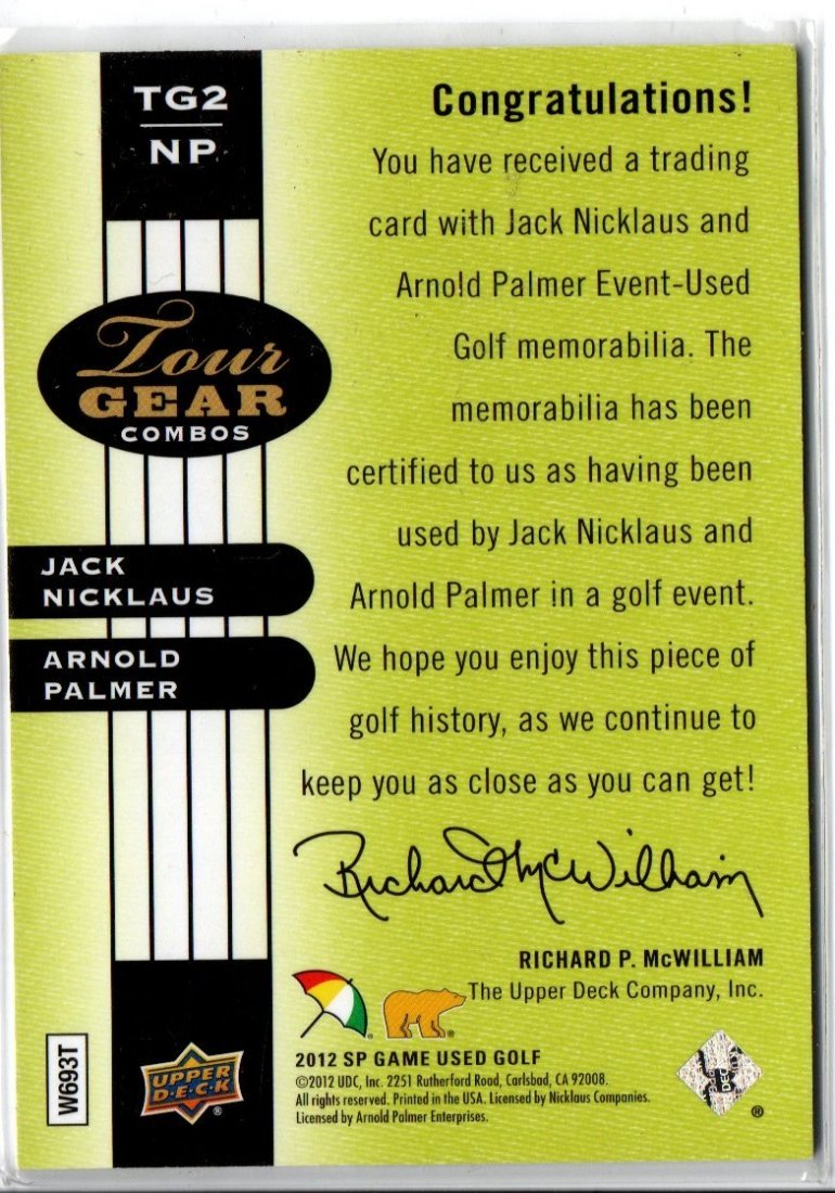 NICKLAUS / PALMER GAME USED JERSEY CARD SPORTS CARD - 2