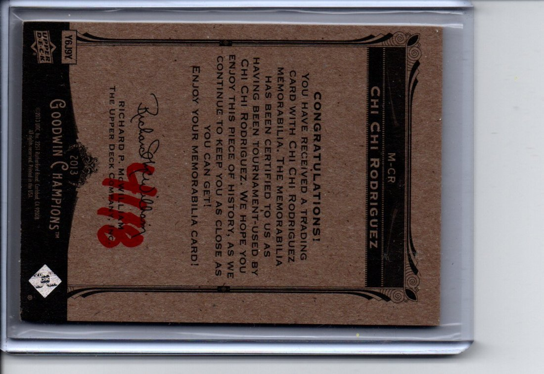 CHI CHI RODRIGUEZ GOODWIN GAME USED CARD SPORTS CARD - 2