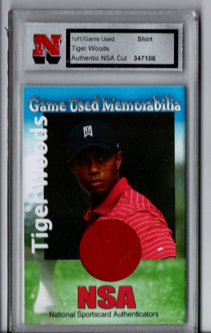 TIGER WOODS NSA 1/1 GAME USED GOLF CARD SPORTS CARD