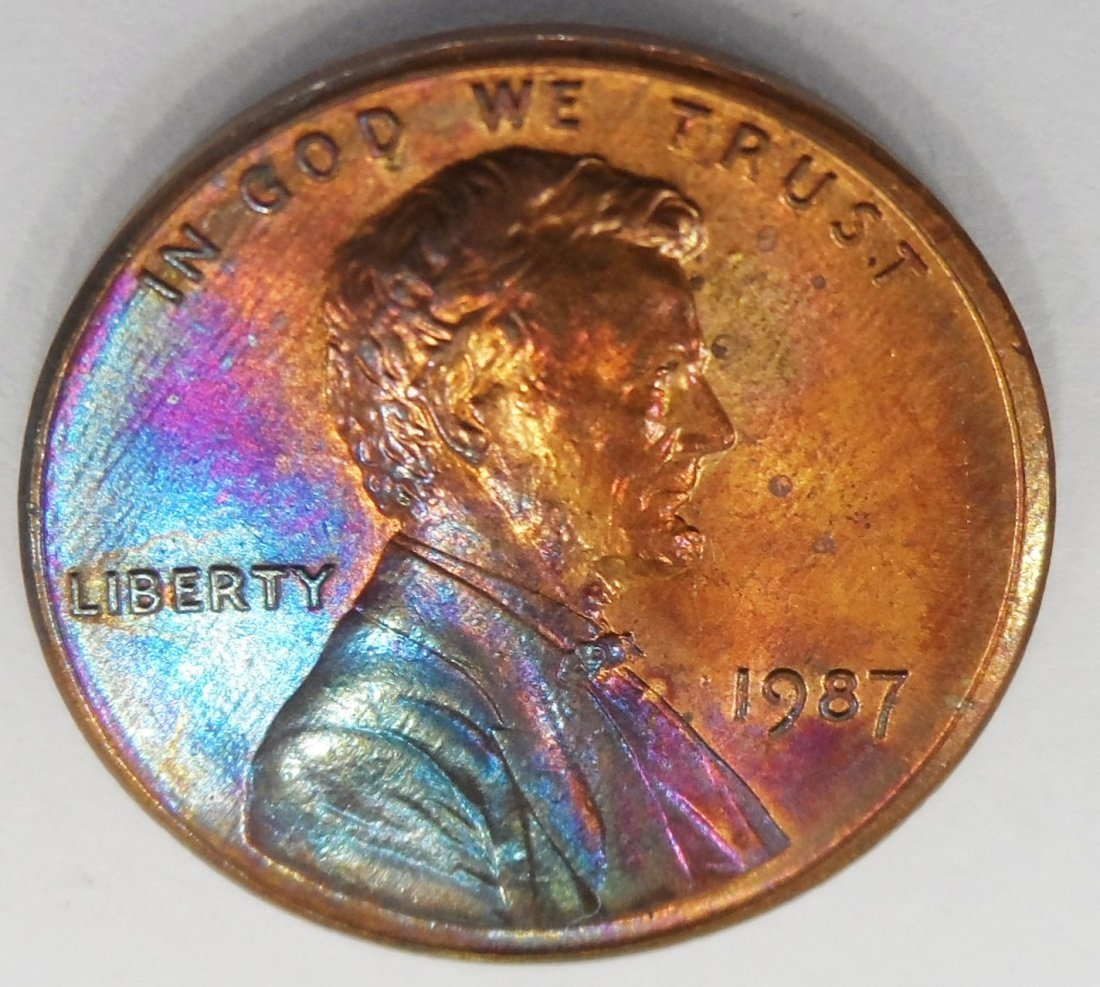 1987 Lincoln Memorial Penny Rainbow Toned 1 Cent One