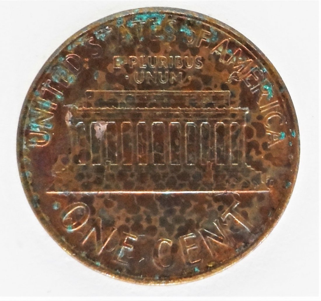 1987 Lincoln Memorial Penny Rainbow Toned 1 Cent One - 2