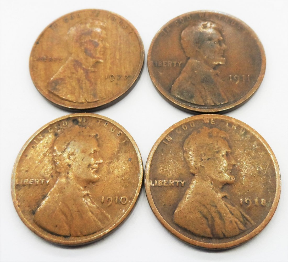 1910, 1911, 1918, 1927 Lincoln 1 Cent Penny Pennies Lot
