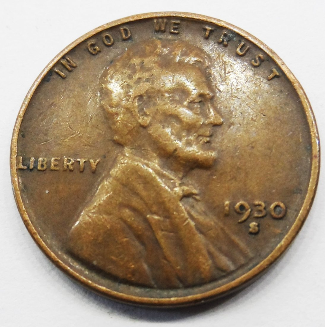 1930 S Lincoln Wheat Cent Penny One Pennie