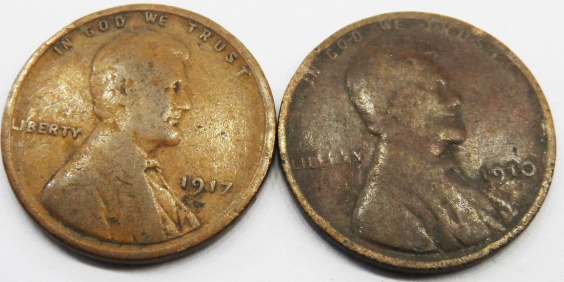 1917 / 1910 Lot Lincoln Wheat Cent One Penny 1 Cent
