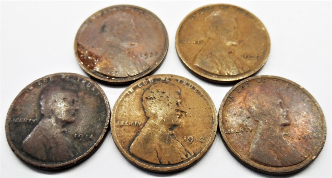 1914, 1912, Lot 5 Lincoln Wheat Cent One Penny 1 Cent
