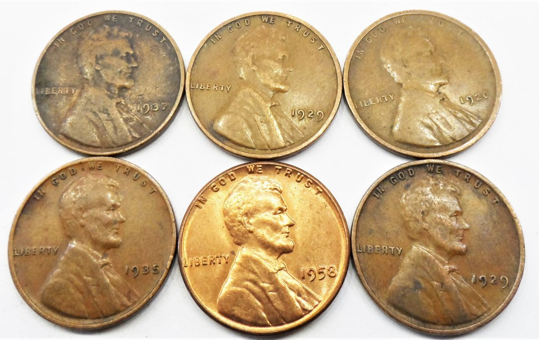 1929, 1920, Lot 6 Lincoln Wheat Cent One Penny 1 Cent