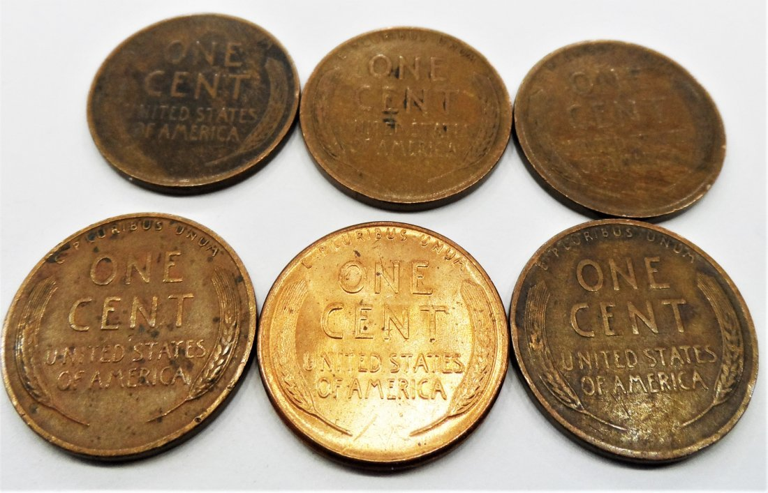 1929, 1920, Lot 6 Lincoln Wheat Cent One Penny 1 Cent - 2