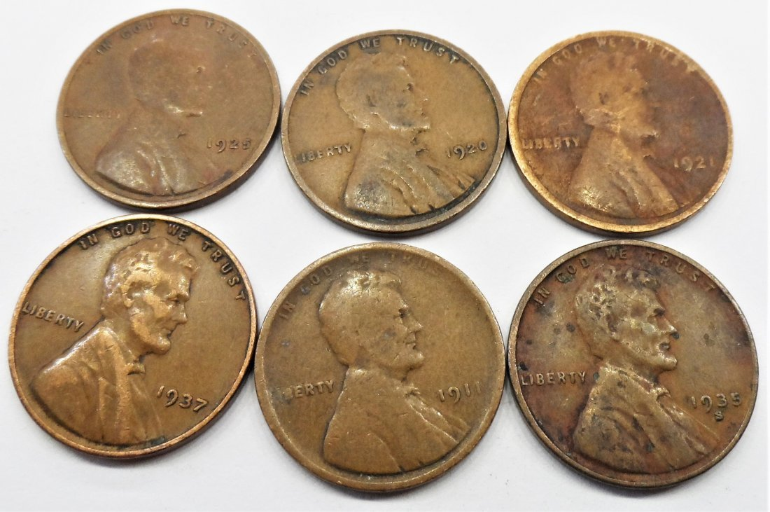 1911, 1920, Lot 6 Lincoln Wheat Cent One Penny 1 Cent