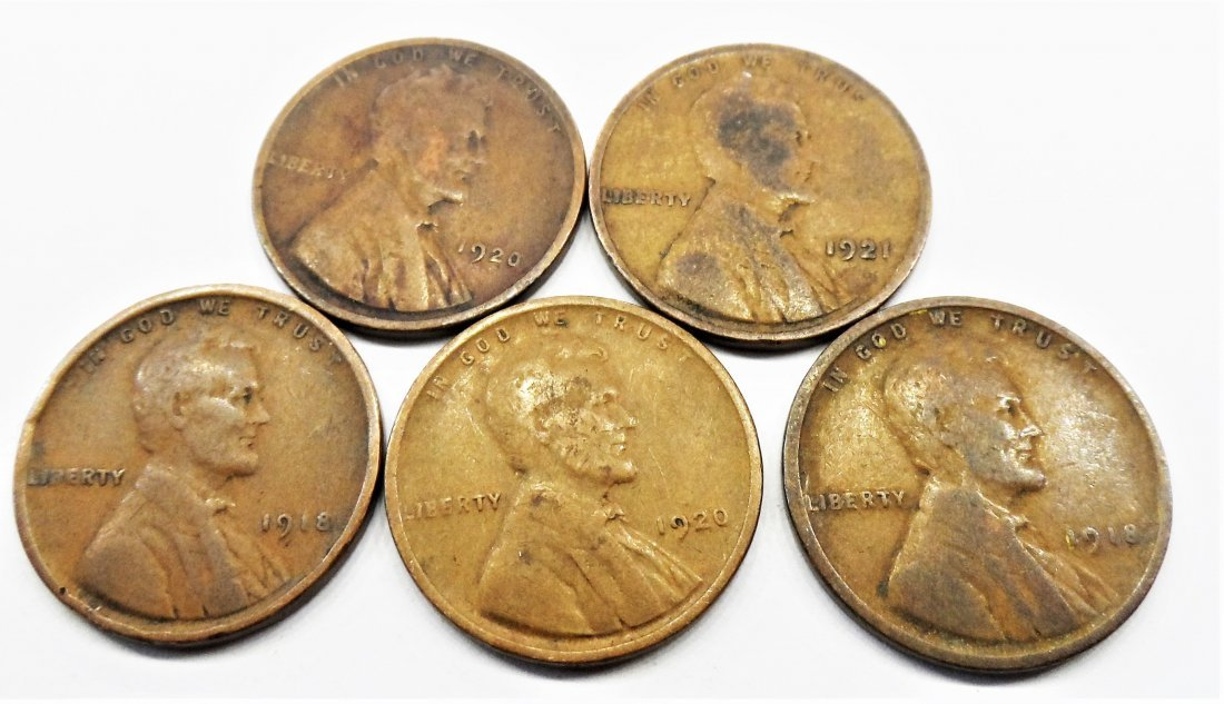 1918, 1920,  Lot 5 Lincoln Wheat Cent One Penny 1 Cent