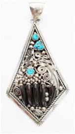 """Silver Turquoise Native American Bear Claw Pendant 5"""""""