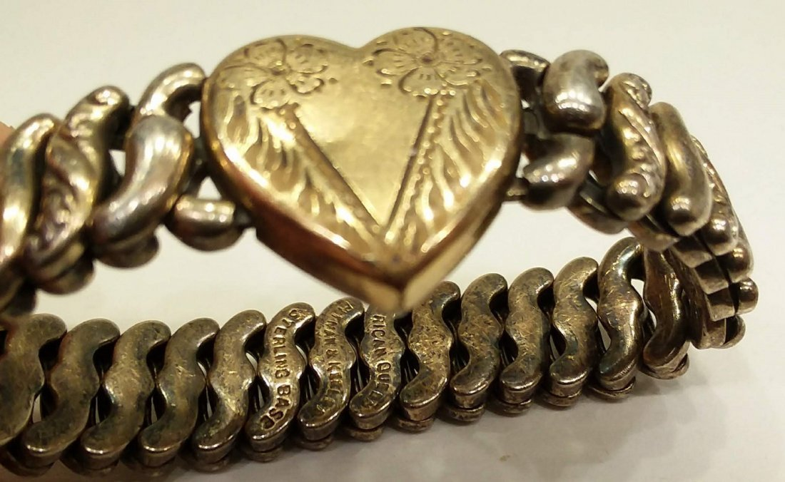 Sterling Silver Heart Trinket Photo Bracelet Antique - 2