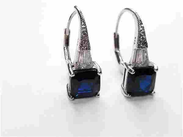 Vintage Sterling Silver Blue Gemstone Earring