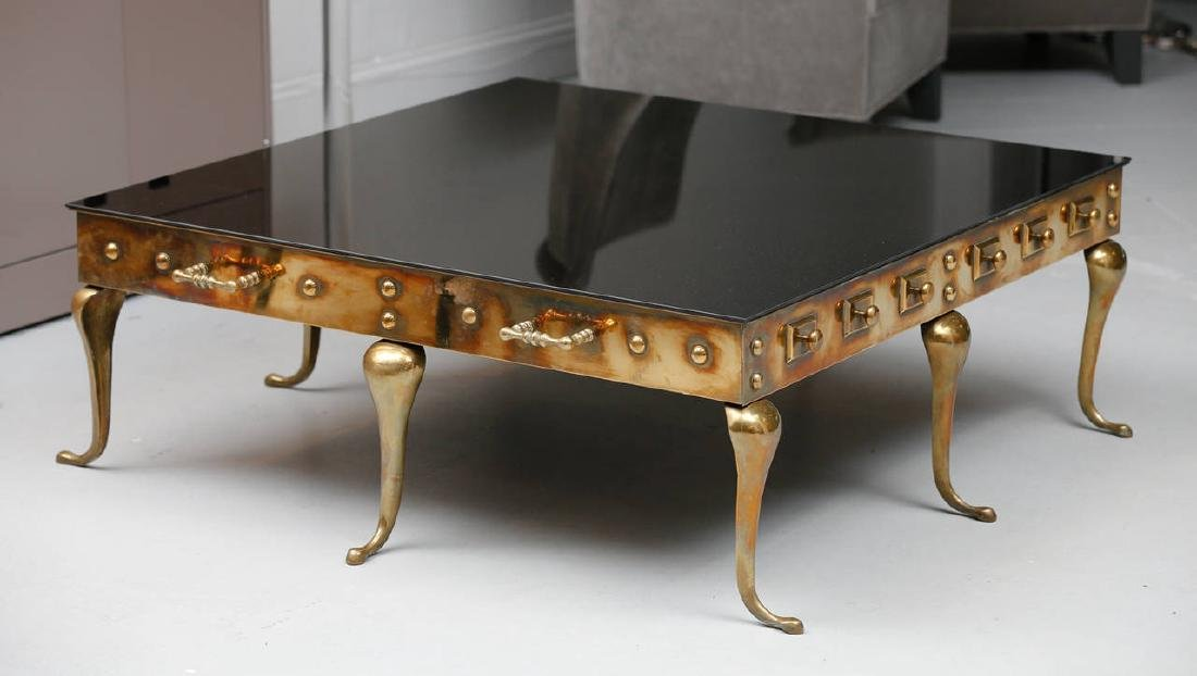 Brass and Black Glass Coffee Table - 2