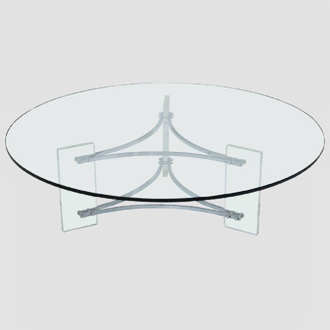 Large Glass, Steel and Lucite Coffee Table