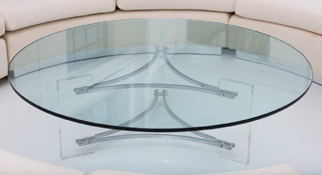 Large Glass, Steel and Lucite Coffee Table - 2